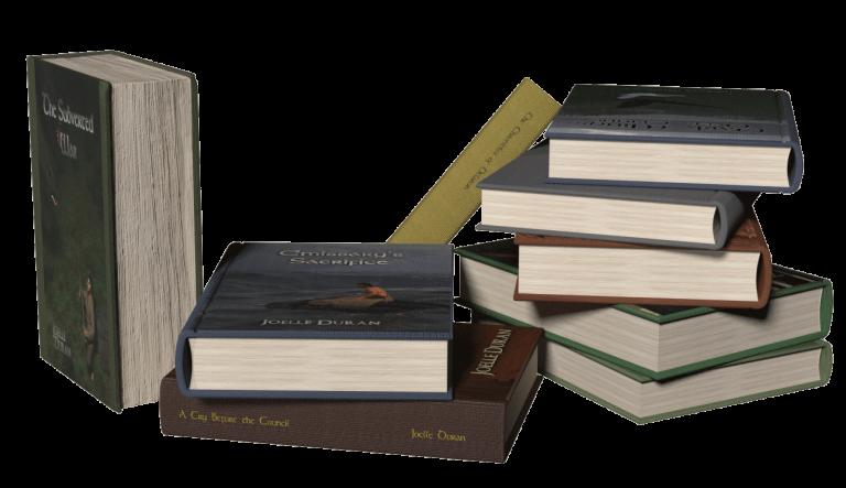 Nine hardback books in disordered stacks