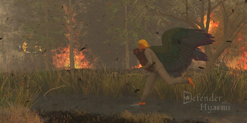 The Defender runs along a stream in a wildfire, carrying an injured hyarmi cub.