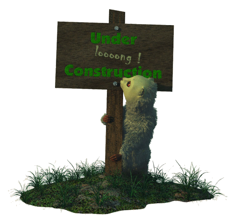 """Hyarmi cub holding sign that reads """"Under loooong Construction"""""""